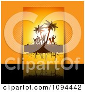 Clipart Grungy Orange Dance Party Flyer Over Orange And Black Royalty Free Vector Illustration