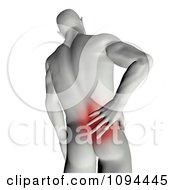 Clipart 3d Man Rubbing His Aching Back Royalty Free CGI Illustration