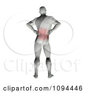 Clipart 3d Man Rubbing An Ache In His Back Royalty Free CGI Illustration