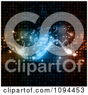 Clipart Flowing Music Notes And Lights On Halftone Dots Royalty Free Vector Illustration