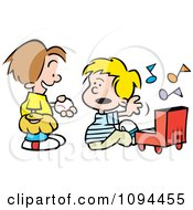 Clipart Boy Trying To Talk His Friend Into Playing Baseball Instead Of The Piano Royalty Free Vector Illustration