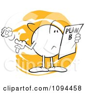 Clipart Moodie Character Reading A Plan B Royalty Free Vector Illustration