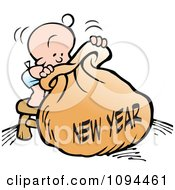 Clipart Baby Standing On A Stool And Peeping Into A New Year Bag Royalty Free Vector Illustration by Johnny Sajem