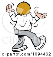 Clipart Disgruntled Teenager Giving Up Walking Away And Shrugging Royalty Free Vector Illustration