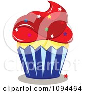 American Cupcake With Red Frosting And Star Sprinkles
