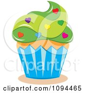 Valentine Cupcake With Green Frosting And Heart Sprinkles