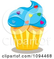 Clipart Valentine Cupcake With Blue Frosting And Heart Sprinkles Royalty Free Vector Illustration by Pams Clipart