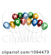 Clipart 3d Colorful Happy Birthday Greeting Balloons Royalty Free CGI Illustration