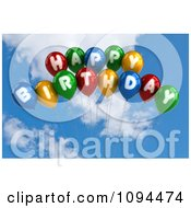 Clipart 3d Colorful Happy Birthday Balloons In The Sky Royalty Free CGI Illustration by stockillustrations