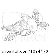 Clipart Outlined Sea Turtle Swimming Royalty Free Illustration by Alex Bannykh