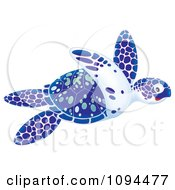 Clipart Swimming Blue White And Green Sea Turtle Royalty Free Illustration by Alex Bannykh