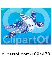 Clipart Blue White And Green Sea Turtle Swimming In The Ocean Royalty Free Illustration by Alex Bannykh