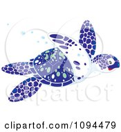 Clipart Blue White And Green Sea Turtle Swimming Royalty Free Vector Illustration