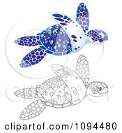 Clipart Outlined And Blue Sea Turtles Swimming Royalty Free Illustration by Alex Bannykh
