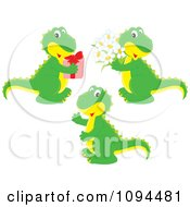 Clipart Green T Rex Dinosaurs With Flowers And A Gift Royalty Free Vector Illustration by Alex Bannykh
