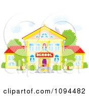 Clipart School Building Under Puffy White Clouds Royalty Free Vector Illustration