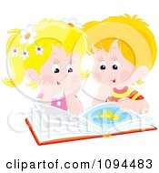 Clipart Boy And Girl Reading A Book About Octopus Royalty Free Vector Illustration