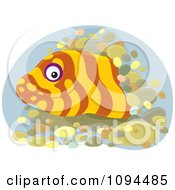 Clipart Happy Eel Emerging From A Hole Royalty Free Vector Illustration by Alex Bannykh
