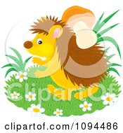Clipart Hedgehog Gathering Mushrooms With His Spikes Royalty Free Vector Illustration