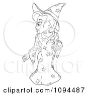 Outlined Witch In A Star Outfit Looking Over Her Shoulder