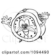 Clipart Outlined Energetic Alarm Clock Royalty Free Vector Illustration by dero