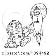 Clipart Outlined Astronaut Floating By A Rocket In Outer Space Royalty Free Vector Illustration