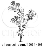 Clipart Outlined Daisy Flowers Royalty Free Vector Illustration by dero