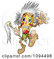 Clipart Tribal Man Doing A Voodoo Dance Royalty Free Vector Illustration