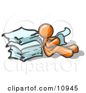 Orange Man Leaning Against A Stack Of Papers Clipart Illustration by Leo Blanchette