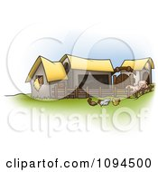 Clipart Chickens And Pigs By Barns On A Farm Royalty Free Vector Illustration