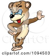 Clipart Smug Bear Leaning Against A Wall Royalty Free Vector Illustration