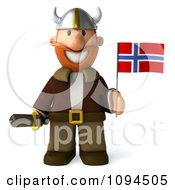 Clipart 3d Viking Holding A Sword And Norway Flag 1 Royalty Free CGI Illustration