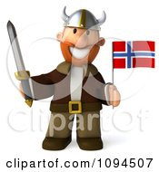 Clipart 3d Viking Holding A Sword And Norway Flag 3 Royalty Free CGI Illustration by Julos