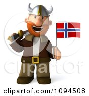 Clipart 3d Viking Holding A Sword And Norway Flag 4 Royalty Free CGI Illustration by Julos