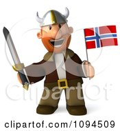 Clipart 3d Viking Holding A Sword And Norway Flag 5 Royalty Free CGI Illustration by Julos