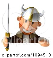 Clipart 3d Viking Holding A Sword And Sign 2 Royalty Free CGI Illustration by Julos
