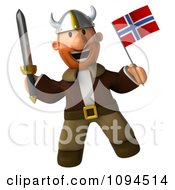Clipart 3d Viking Holding A Sword And Norway Flag 6 Royalty Free CGI Illustration by Julos