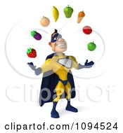 Clipart 3d Male Super Hero Juggling Produce 2 Royalty Free CGI Illustration