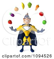 Clipart 3d Male Super Hero Juggling Produce 1 Royalty Free CGI Illustration by Julos