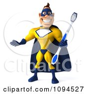 Clipart 3d Male Super Hero With A Tooth Brush Royalty Free CGI Illustration