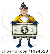 Clipart 3d Male Super Hero Holding A Large Dollar Bill 1 Royalty Free CGI Illustration by Julos