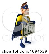 Clipart 3d Male Super Hero Holding A Large Dollar Bill 2 Royalty Free CGI Illustration
