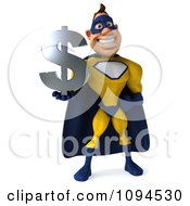 Clipart 3d Male Super Hero Holding A Dollar Symbol 1 Royalty Free CGI Illustration