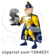 Clipart 3d Male Super Hero Holding A Dollar Symbol 2 Royalty Free CGI Illustration