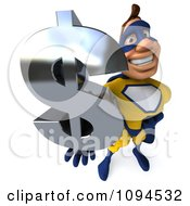 Clipart 3d Male Super Hero Holding A Dollar Symbol 3 Royalty Free CGI Illustration by Julos