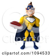 Clipart 3d Male Super Hero Holding A Steak 3 Royalty Free CGI Illustration