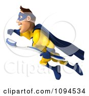 Clipart 3d Male Super Hero Flying With A Tooth Brush 1 Royalty Free CGI Illustration