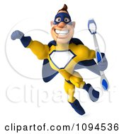Clipart 3d Male Super Hero Flying With A Tooth Brush 3 Royalty Free CGI Illustration