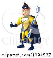 Clipart 3d Male Super Hero Holding A Tooth Brush And A Thumb Up 1 Royalty Free CGI Illustration