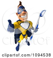 Clipart 3d Male Super Hero Holding A Tooth Brush And A Thumb Up 2 Royalty Free CGI Illustration